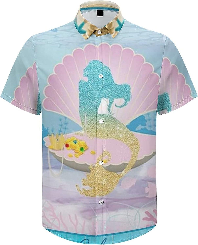 Mens Button Down Shirt Sea Mermaid Blue Sea Casual Summer Beach Shirts Tops
