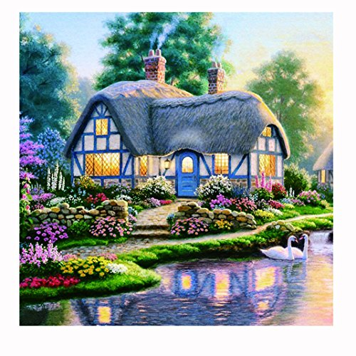Geyou 5D Diamond Painting Full Drill by Number Kits Chalet Stitch DIY Embroidery Diamond Home Decor Gift New,Cross-Stitch Stamped Kits (A)