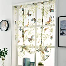 WUBODTI Tie Up Window Shade Curtains, Elegant Vintage Butterfly Floral Print Voile Sheer Small Window Curtain Drapes, Balloon Valance Window Treatment Rod Pocket,1 Panel, 32''W x 47''L