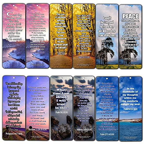 Bible Verses About Stress and Anxiety KJV Bookmarks (60-Pack) - Handy Bible Verses About Releasing Stress and Increase Your Trust Collection