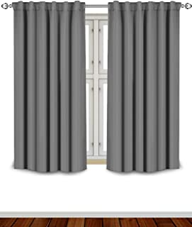 Utopia Bedding Blackout Room Darkening and Thermal Insulating Window Curtains/Panels/Drapes - 2 Panels Set - 7 Back Loops per Panel - 2 Tie Backs Included (Grey, 52 x 63)