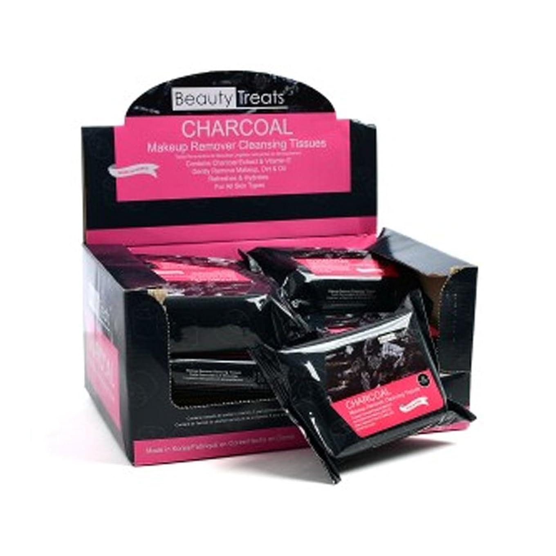 謙虚クラスベンチBEAUTY TREATS Charcoal Makeup Remover Cleaning Tissues Display Set, 12 Pieces (並行輸入品)