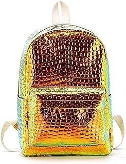 Backpack Women Alligator Laser Backpacks Fashion Silver Holographic Rucksack for Girls School Bag Bagpack 2019(Orange)