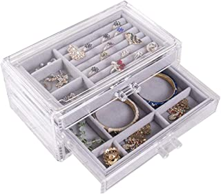 Rajendram Jewelry Storage Case 3 Drawers Transparent Organizer Earring Rings Necklaces Bracelets Display Case