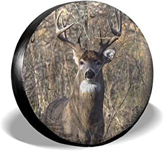 Tire Cover Dark Forest with Wild Deer Polyester Universal Spare Wheel Tire Cover Wheel Covers Jeep Trailer RV SUV Truck Camper Travel Trailer Accessories 17 inch