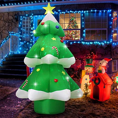 Fashionlite 9ft Christmas Inflatable Xmas Tree with Multicolor Changing LED Lights Yard Decorations, Blow Up Inflatables for Indoor Outdoor Easter Home Garden Family Prop Lawn Decoration, Green