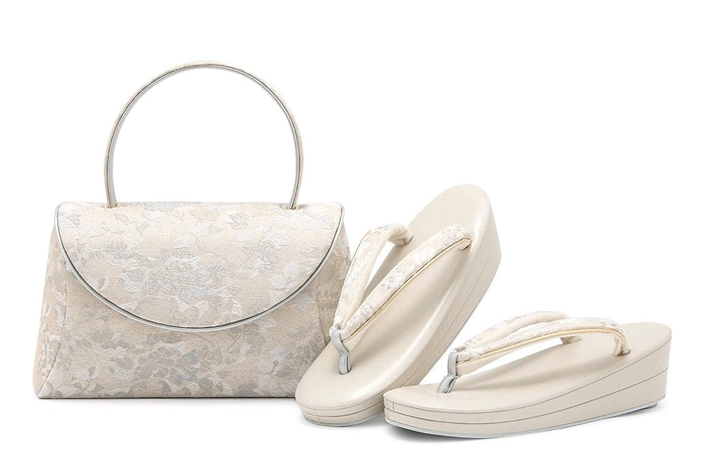 入手しますぼんやりした砂(ソウビエン) 草履バッグ セット 佐賀錦 シルバー ベージュ 二枚芯 礼装 フォーマル フリーサイズ