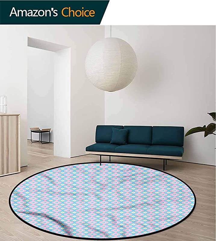 RUGSMAT Abstract Modern Machine Washable Round Bath Mat Wavy Borders Sun And Moon Pattern Round Area Rugs Thin Diameter 47