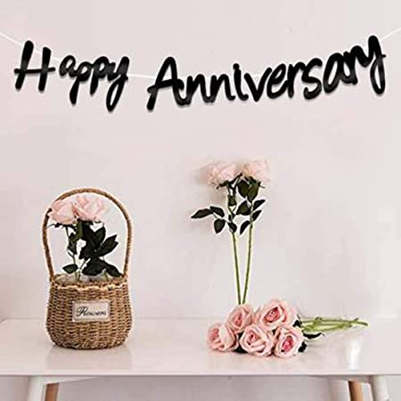 YNS CRAFTS STOCK Happy Anniversary Bunting Banner Set for Decorations / Anniversary Decorations for Home / Marriage Anniversary Decoration Items / Paper Hangings for Decor - Black