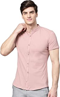 MANQ Men's Slim Fit Solid Knitted Casual Shirt