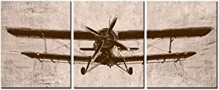 LevvArts - 3 Piece Canvas Wall Art Vintage Airplane Art for Home Bedroom Decor Abstract Aviation Painting Giclee Print Artwork Framed Ready to Hang (12