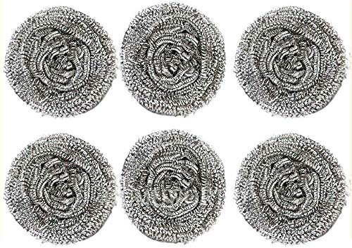 Stainless Steel Sponges Scrubbing Scouring Pad Scrubber Scourer Kitchen Stovetops Plates Dishes Glasses Bathroom Sink Basin Cleaning - Pack of 6