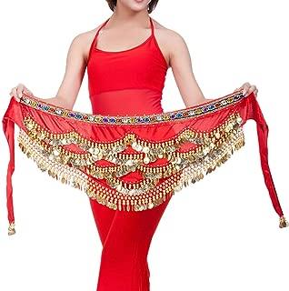 Rouge Danse du Ventre Ceinture Foulard /à Sequin avec Bracelet Vathery Ceinture Danse Orientale