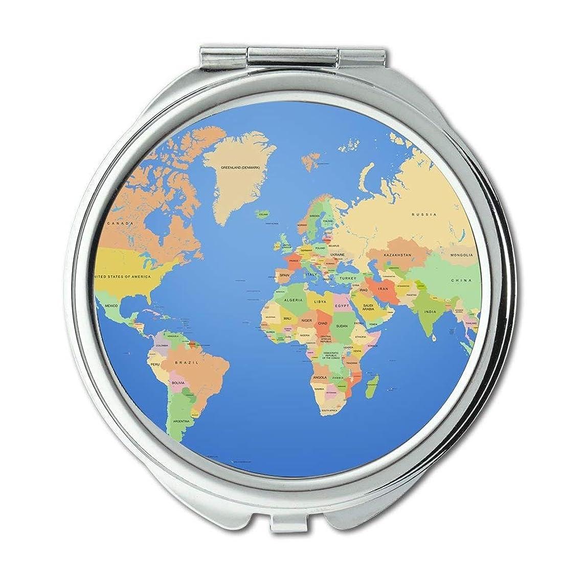 サンダー地下鉄同等のポケットミラー、コンパクトミラーラウンドコンパクトミラー両面、世界地図男性用ウォレットミラー/女性MT 006