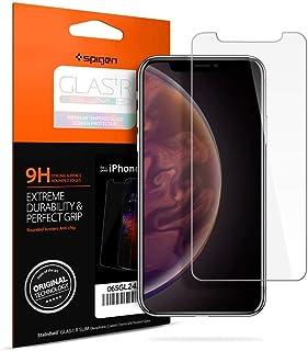 【Spigen】 iPhone XS Max ガラスフィルム 6.5インチ 用 薄さ0.4mm 強化ガラス 液晶保護フィルム 高透過率 液晶パネル 保護 3DTouch Face ID 対応 065GL24540 (GLAS.tR SLIM (1枚入))