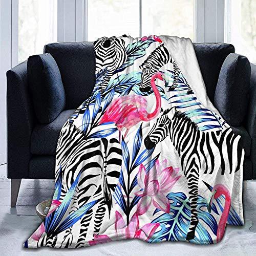 Manta de Tiro Flor Flamingo Zebra Manta de Microfibra Ultra Suave Manta de Cama súper Suave y acogedora para Cama Sofá Sofá Sala de Estar Picnic en la