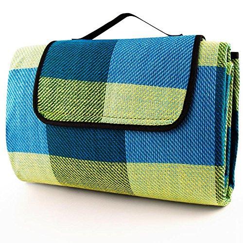 Deuba Picknickdecke 200 x 200 Hellblau gelb Strandtuch XXL Outdoordecke zusammenfaltbar Picknick Stranddecke