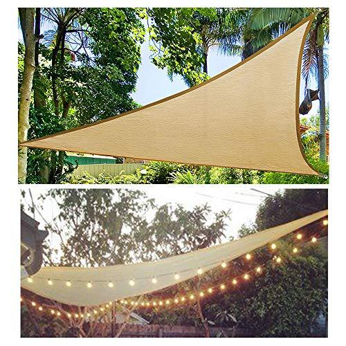 HOXMOMA Sonnensegel Dreieck Gleichseitig, Sonnenschutz Wasserdicht inkl Befestigungsseile, mit LED-Leuchten, 95% UV Schutz Schattenspender Wetterschutz,Beige,5x5x5m