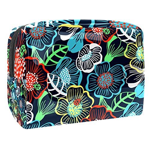 Kit de Maquillaje Neceser Flores Mariquita Make Up Bolso de Cosméticos Portable Organizador Maletín para Maquillaje Maleta de Makeup Profesional 18.5x7.5x13cm