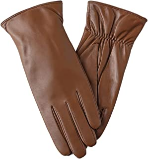 ba0a722804bf Super-soft Leather Winter Gloves for Women Full-Hand Touchscreen Warm  Cashmere Lined Perfect