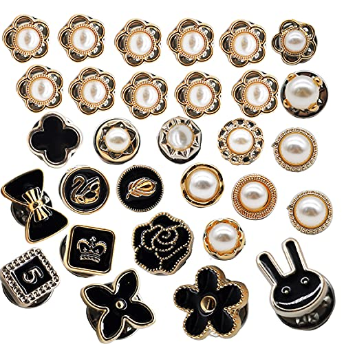 30Pcs Broches Botones Mujer Camisa Broche de Perlas para Ropa Mujer Flor Broche Boton de Seguridad Broche Boton Elegante Clip de Chal para Vestido Cardigan Suéter Sombrero Ropa