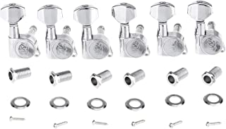 Wilkinson 6-in-line E-Z-LOK Guitar Tuners Machine Heads Tuning Keys Set for Fender Strat/Tele Style Electric Guitar, Chrome