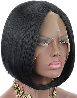 Yaki Lot de 10 perruques synthétiques en dentelle pour femme noire Coupe courte droite au milieu Résistante à la chaleur