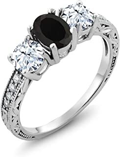 Gem Stone King 925 Sterling Silver Black Onyx Women`s Ring (2.42 Ct Gemstone Birthstone, Available in size 5, 6, 7, 8, 9)