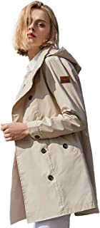 TFO Women's Rain Jacket Lightweight Double-Breasted Trench Coat Outdoor Waterproof Raincoats with Hood Plus Size