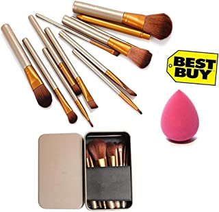 Spanking Makeup Brush Set of 12 with storage box with sponge puff (color may vary)