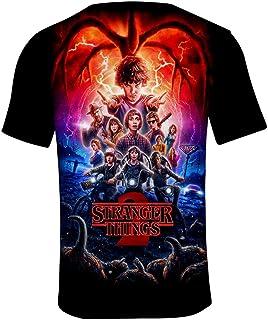 Camiseta Stranger Things Hombre, Camiseta Stranger Things Temporada 3 Mujer Manga T-Shirt Abecedario 3D Impresión T-Shirt ...