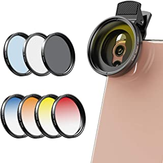 Apexel 2020 Newly Phone Camera Graduated Color Filter Accessory Kit - Adjustable Blue/Orange/Yellow/Red Color Lens, Star, ...