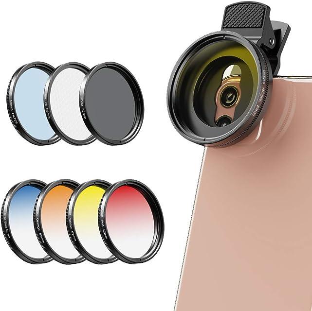 Apexel - Kit de filtros de Lente de cámara para teléfonos móviles (Azul Amarillo Naranja Rojo) CPL ND32 y filtros de Estrella para Nikon Canon Gopro iPhone y Todos los teléfonos