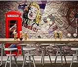 Mural Papel Pintado Cabina de teléfono roja pared de ladrillo graffiti Fotomural para Paredes Papel pintado tejido no tejido Decoración de Pared decorativos Murales moderna 150(W)X105(H) cm