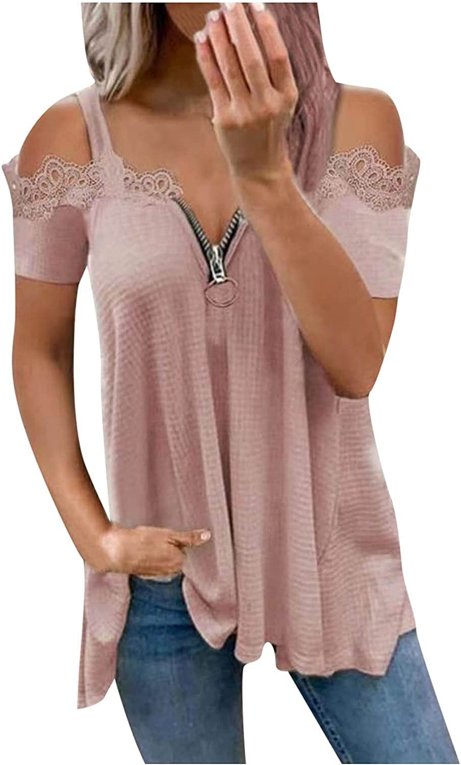 Womens Summer Tops, Women Summer Sexy Clod Shoulder T-Shirts Trendy Casual Loose Fit V-Neck Zipper Tunic Tees Blouses