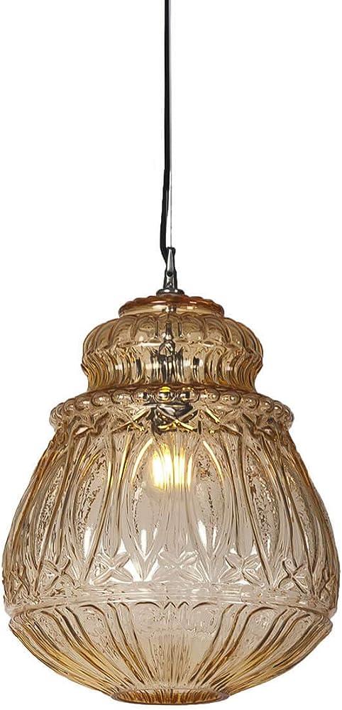 Karman ginger, lampada a sospensione Ø30 cm, in vetro color paglierino