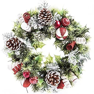 """11"""" Artificial Holly / Candy Cane Christmas Wreath with Pinecones"""
