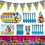JPYH 48PCS Set de Fiesta de cumpleaños de Mickey Disney Mickey Mouse Party Decoration Set para 6 Invitados Platos Tazas Servilletas Pack de Fiesta Mickey Mantel Sirve