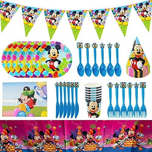 JPYH 48 pezzi Set di Articoli per Feste Mickey Mouse e Set di stoviglie per 6 Persone, Kit di Decorazioni di Compleanno per Ragazze - Zigoli di Compleanno, Piatti, Tazze, tovaglioli, cannucce
