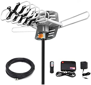Digital Antenna -Amplified HD Outdoor TV Antenna 150 Miles Range with 360 Degree Rotation Wireless Remote - UHF/VHF/1...