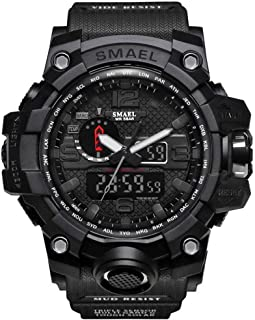 SMAEL Boy's Military Watch, Big Face Sports Watch Army Style Multifunctional Wrist Watch for Youth - black