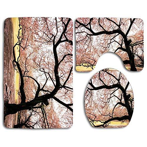 N\A rutschfeste 3-teilige weiche Träume von Sakura-Badteppichen Set Waschbarer Badteppich + Konturmatte + Toilettensitzbezug, Bodenteppich für Fußmatten Badewanne Duschraumdekorationen