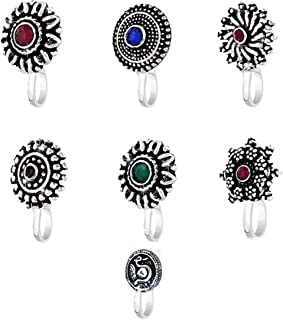 Yellow Chimes by Yellow Chimes Nose Ring for Women (Oxidized Silver) (YCTJNP-02OXD8PCS-SL)