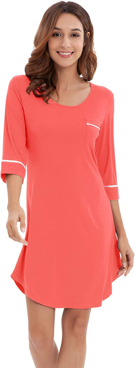 Max 58% OFF WiWi Women's Nightgowns Soft Bamboo Pajamas Sh Sleeves Sleep Deluxe 3 4