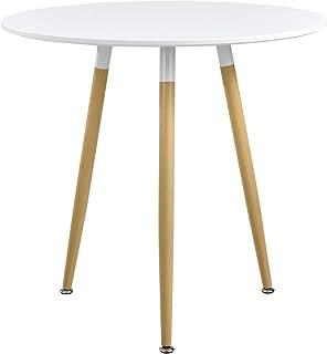 [en.casa] Table à Manger Ronde Table de Salle à Manger MDF-Feuille de Placage Blanc Mat et Laqué 80 x 75cm