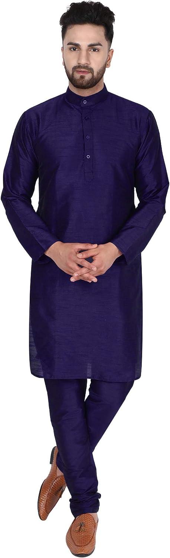 SKAVIJ Men's Dupion Art Silk Tunic Kurta Pyjama Casual Ethnic Dress Suit