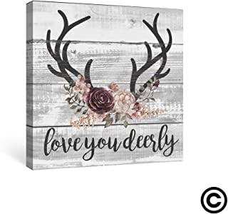 SUMGAR Farmhouse Wall Art Bedroom Rustic Decor Pink Flower Pictures Bathroom Boho Grey Canvas Paintings Gray Deer Quotes Prints Black Antler Artwork Small Panel Dorm Decoration Gifts,12x12 inch