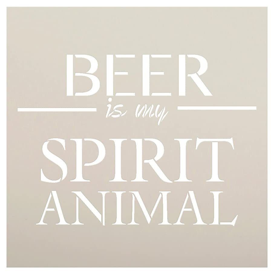 Beer is My Spirit Animal Stencil by StudioR12 | Bar Word Art - Reusable Mylar Template | Painting, Chalk, Mixed Media | Use for Wood Sign, Wall Art, DIY Home Decor Select Size (12
