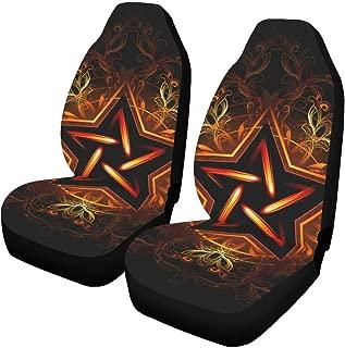 INTERESTPRINT Wiccan Fiery Star Pentagram Car Seat Covers Set of 2 Protectors