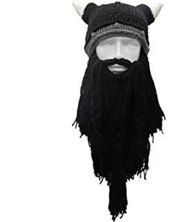 Funny Man Vikings Beanies Knit Hats Beard Ox Horn Handmade Men's Winter Hats Warm Gift Party Mask Cosplay Cap